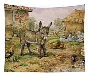 Donkey And Farmyard Fowl  Tapestry