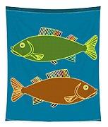 Double Rainbow Fin Fish Tapestry by Joy McKenzie