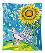 Dove And Sunflower Tapestry