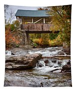 Down The Road To Greenbanks's Hollow Covered Bridge Tapestry