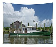 Downeast Style Yacht Docked On Shem Creek In Charleston Tapestry