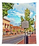 Downtown Blacksburg With Historical Marker Tapestry