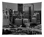 Downtown Pittsburgh At Twilight - Black And White Tapestry