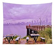 Downtown Seattle As Seen From Alki Beach Tapestry