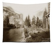 Domes And Royal Arches From Merced River Yosemite Valley Calif. Circa 1890 Tapestry