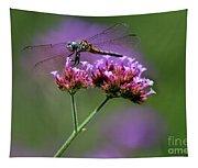 Dragonfly On Purple Verbena Tapestry