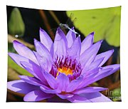 Dragonfly On Water Lily Tapestry