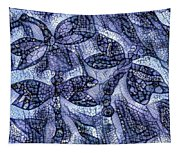 Dragons In Blue Mosaic Tapestry