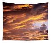 Dramatic Orange Sunset Tapestry