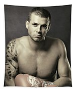 Dramatic Portrait Of A Kickboxer Tapestry