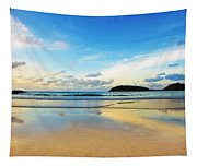 Dramatic Scene Of Sunset On The Beach Tapestry