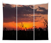 Dramatic Sunset Triptych Tapestry