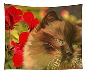 Dreamy Cat With Geranium 2015 Tapestry