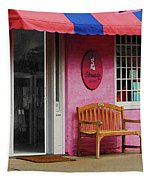 Dress Shop With Orange And Blue Awning Tapestry