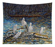 Yellow Billed Egrets On Driftwood Tapestry