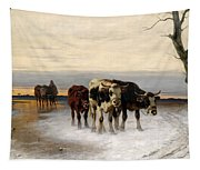Driving The Herd Home In Wintry Landscape Tapestry