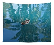 Duck Swimming In The Blue Lagoon Tapestry