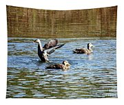 Ducks On Colorful Pond Tapestry