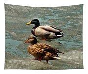 Ducks On Ice Tapestry