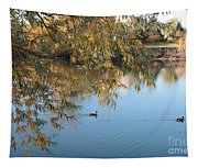 Ducks On Peaceful Autumn Pond Tapestry