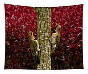 Dueling Woodpeckers Tapestry