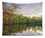 Dusk On Autumn Lake  Tapestry