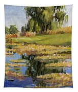 Dusk Over The Pond Tapestry