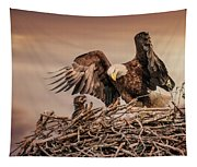 Bald Eagle And Eaglet In Nest Tapestry
