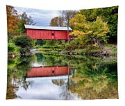 Early Fall Colors Surround A Covered Bridge In Vermont Tapestry
