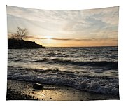 Early Lakeside - Waves Sand And Sunshine Tapestry