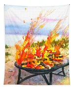 Early Morning Beach Bonfire Tapestry