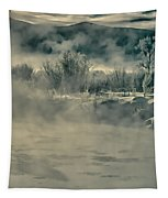 Early Morning Frost On The River Tapestry