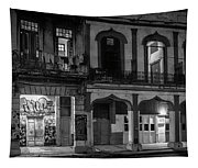 Early Morning Paseo Del Prado Havana Cuba Bw Tapestry