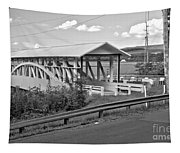 East St. Claire Covered Bridge Black And White Tapestry