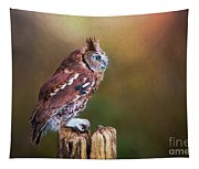 Eastern Screech Owl Red Morph Profile Tapestry