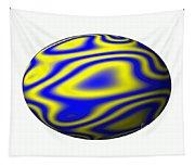 Egg In Space Blue And Yellow Tapestry