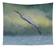 Egret Art I With Foreground Fog  Tapestry