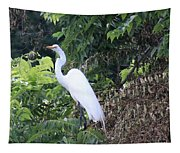 Egret In A Tree Tapestry