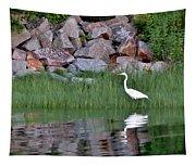 Egret On The Danvers River Tapestry