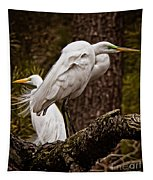 Egrets On A Branch Tapestry