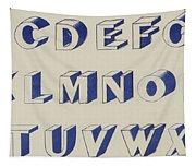 Egyptian For Carving Vintage Blue Font Design Tapestry