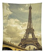 Eiffel Tower And Pont D'lena Vintage Tapestry