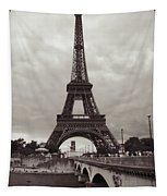 Eiffel Tower With Bridge In Sepia Tapestry