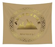 Elegant Gold Foil Adventure Awaits Typography Celtic Knot Tapestry