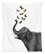 Elephant Blowing Butterflies From His Trunk Tapestry