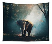 Elephant In The Mist - Painting Tapestry