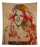 Ellie Goulding Watercolor Portrait Tapestry