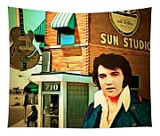 Elvis Presley The King At Sun Studio Memphis Tennessee 20160216 Square Tapestry
