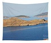 Emborio Harbour On Halki Island Tapestry