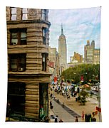 Empire State Building - Crackled View Tapestry